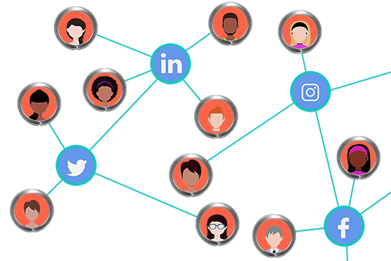 network of people connected through social media
